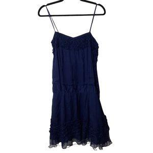 TopShop Women's Lingerie Style Ruffle Chiffon Navy Blue Cami Dress Size 10